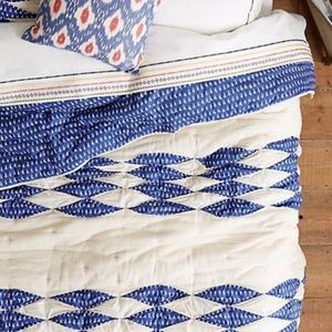 Anthropologie Dotted Ikat Queen Quilt